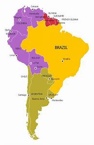 South America Political Map  Y   Brazil  P   Andean  R