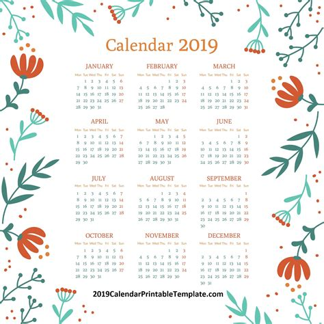monthly calendar template calendar printable template