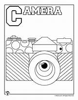 Coloring Pages Letter Alphabet Camera Activities sketch template