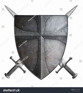 Medieval Crusader Shield And Two Crossed Swords Isolated ...