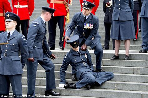 queens  birthday service  raf officer faint