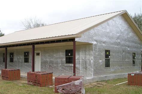exterior wrap    brick exterior  steel frame home steel frame house metal building