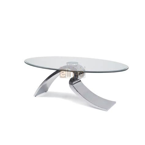 chaises cuisine table basse design moderne ovale verre et acier raja