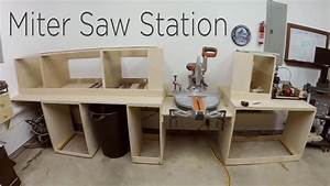 Miter Saw Station Cabinets and Work Surface - 194 - YouTube