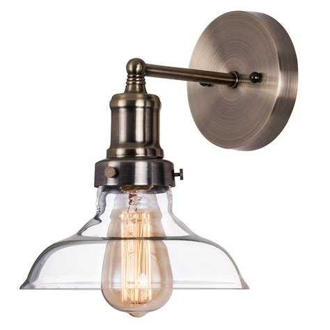 Antique Brass Light Fixtures Bathroom by Industrial Clear Glass Wall Sconce Lighting Antique Brass