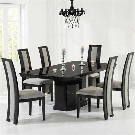 Marble Dining Table And Chairs by Kamila Black Marble Dining Table With 6 Chairs Robson