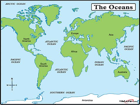 world oceans  seas map  mapscom  mapscom