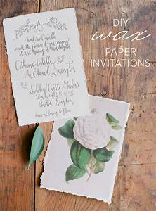 Diy wax paper wedding invitations once wed for Diy newspaper wedding invitations