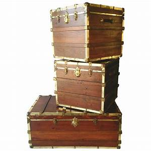 mid century industrial wood steamer trunk coffee and end With trunk coffee table and end tables