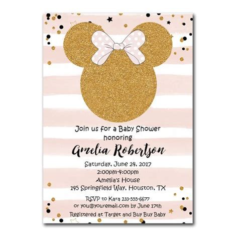minnie mouse baby shower invitation pink gold glitter