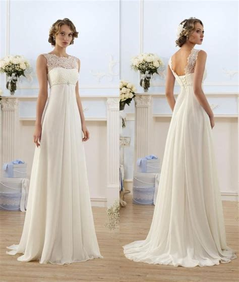 lace chiffon empire wedding dresses  sheer neck capped