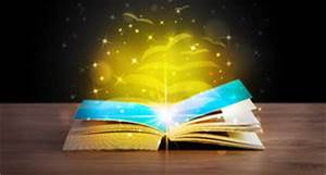 Open Book Golden Glow Flying Paper Pages Stock Photos ...