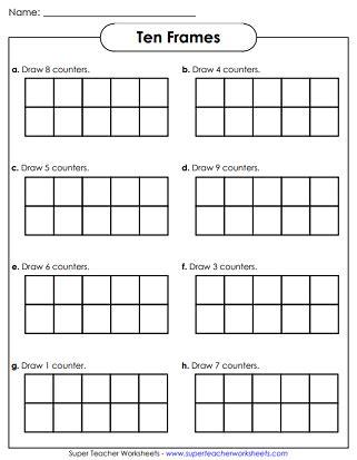 ten frames worksheets