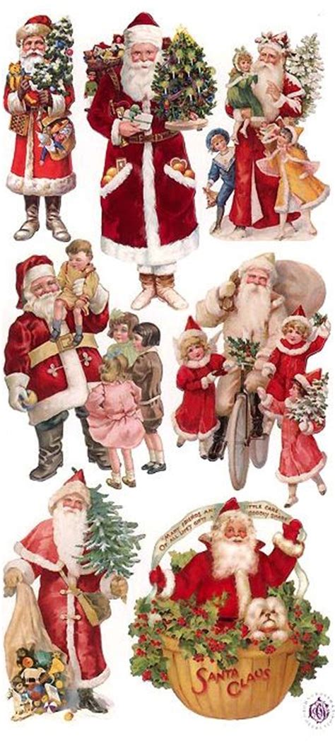 victorian style santa claus stickers vintage christmas