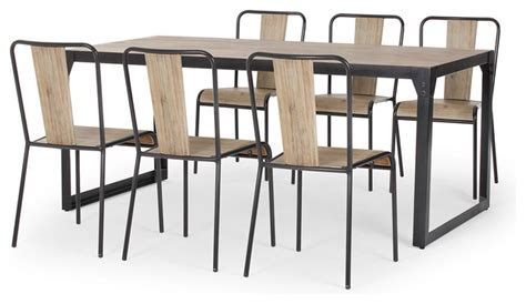 brunel industrial dining set with 6 chairs modern