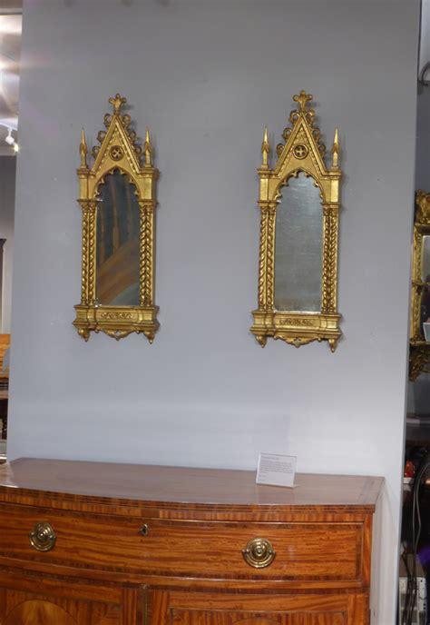 pair  gothic mirrors small gilt mirrors antique wall