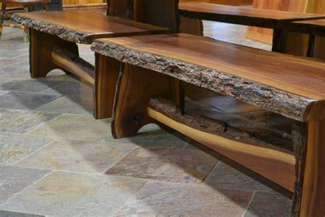 walnut  edge trestle base benches corey morgan