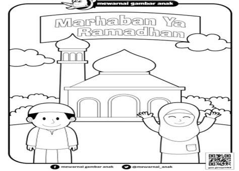 inspirasi gambar mewarnai tema ramadhan bagus untuk anak