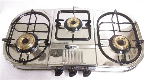 Stainless Steel Three 3 Brass Burner Gas Stove Cooktop Hob