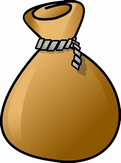 Sack Clipart Clip Brown Cartoon Rope Bag