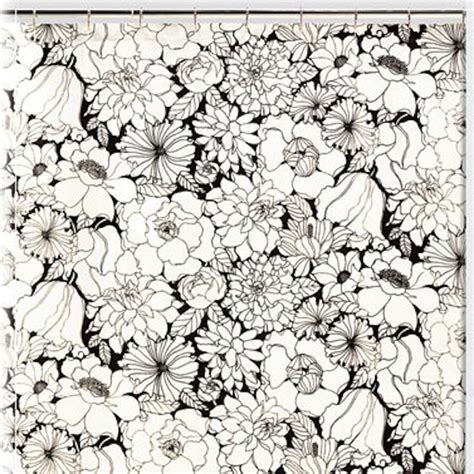 black and white floral shower curtain contemporary