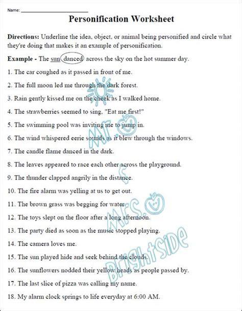 figurative language personification worksheet
