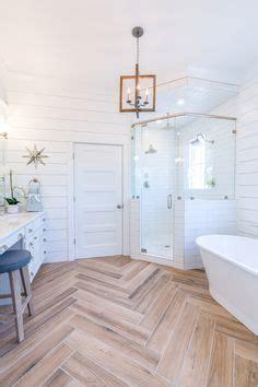 white shiplap bathroom  herringbone wood floor bathroom design   home decor house