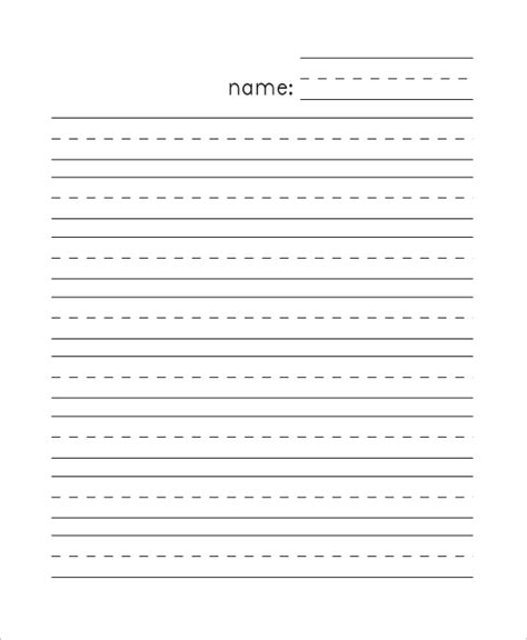 8 sample lined papers sample templates 612 | Kindergarten Lined Paper