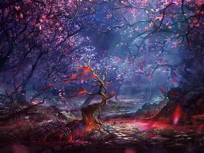 Fantasy Purple Artwork Pink Digital Night Trees