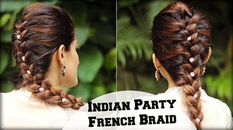 easy french braid ponytail hairstyle  indian wedding