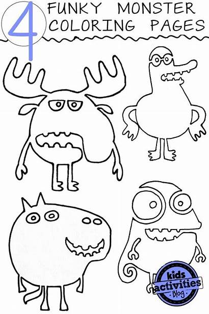 Coloring Pages Monster Activities Funky Crazy Colouring