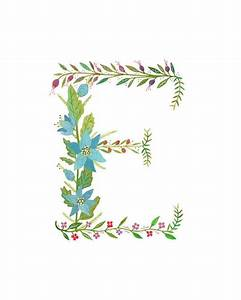 e flower monogram other letters too printed on 8x10 With floral monogram letter