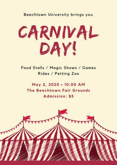 red tent carnival poster templates  canva