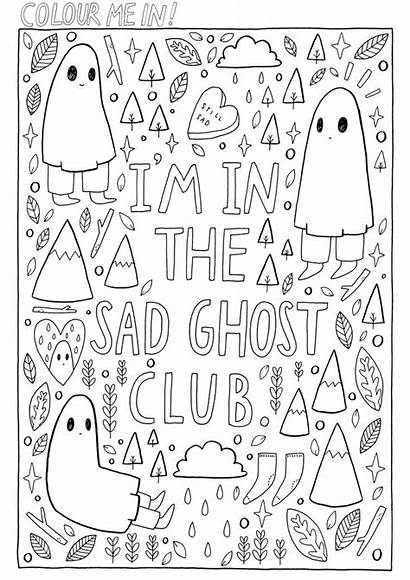 Colouring Coloring Pages Sad Sheets Ghost Club