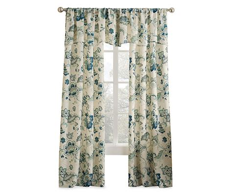 Jacobean Floral Design Curtains by Living Colors Jacobean Blue Floral Curtain Panels And