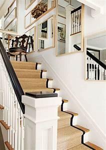 escalier moderne interieur 34 idees de deco With tapis jonc de mer avec canapé blanc et bois