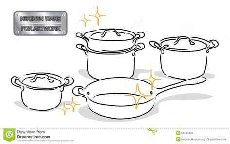 dessins de cuisine vaisselle de cuisine de dessin illustration de vecteur