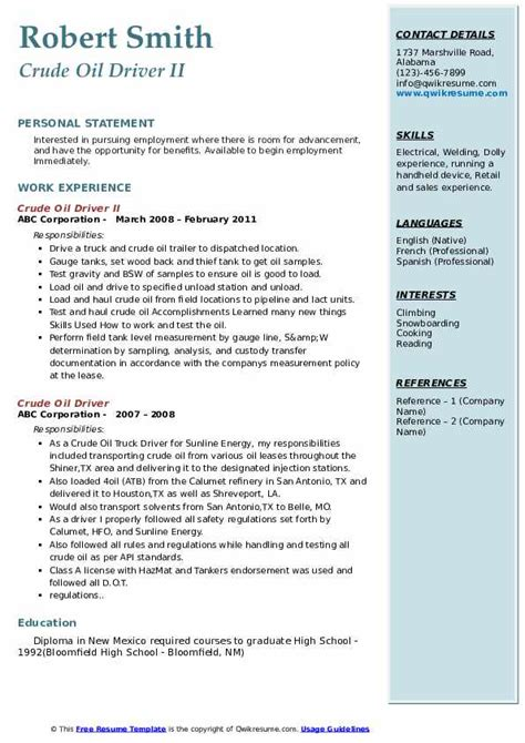 Resume for software engineer fresher template. Crude Oil Driver Resume Samples | QwikResume