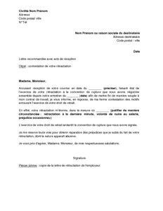 Delai Entre Deux Cdd by Lettre De Contestation Par Le Salari 233 Du Droit De