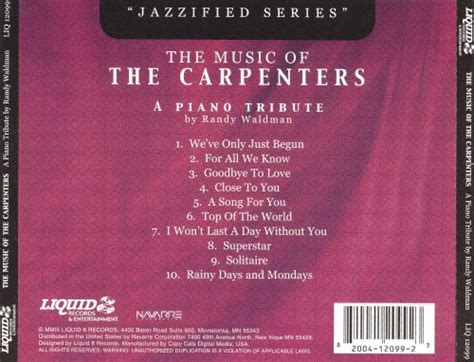 We carry a full range of new and used pianos, band and orchestral instruments, guitars, sheet music, and more. Music of the Carpenters - Randy Waldman | Songs, Reviews, Credits | AllMusic