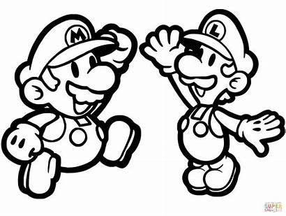 Coloring Mario Luigi Paper Pages Printable Super