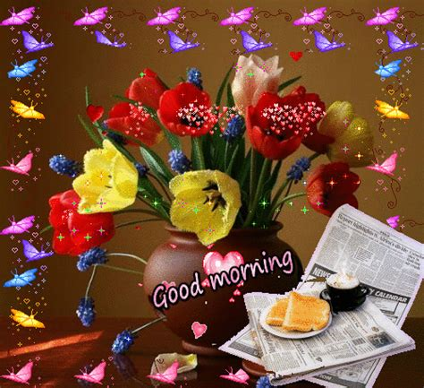 beautiful good morning colorful butterflies  flowers gif picture funnyexpo