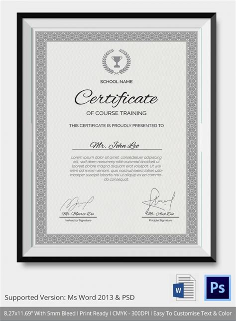 training certificate templates samples examples