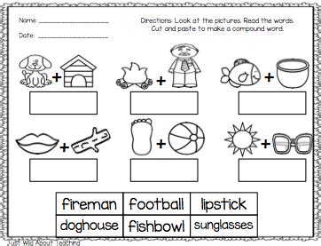 compound words cut and paste worksheets worksheets for all