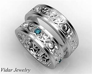 Unique Blue Diamond Matching Wedding Bands His And Hers