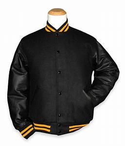Black and gold leather varsity letterman jacket ebay for Varsity letter man jacket