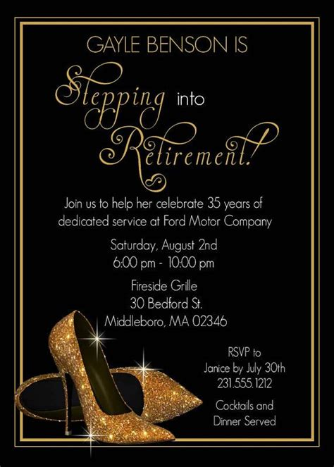 gold shoes retirement invitation printable retirement