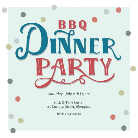 Random Dinner Dots BBQ BBQ Party Invitation Template