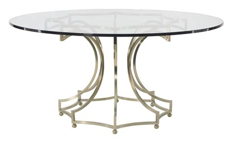 round glass table with metal base round dining table glass top with metal base bernhardt