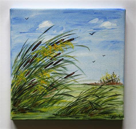 peinture acrylique sur toile 20x20cm joncs dans les